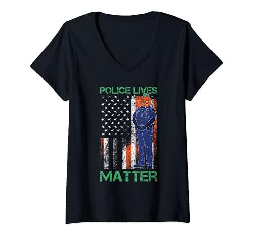 Mujer Police Lives Mater Lazy Halloween Disfraz de bandera americana Camiseta Cuello V