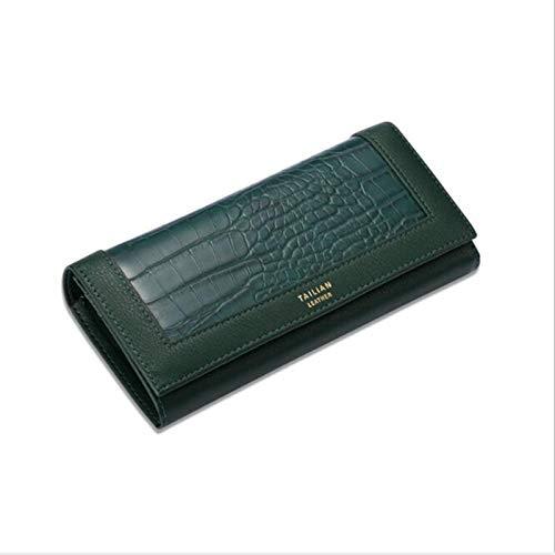 Ladies Wallet, PU Leder Brieftasche, Frauen, Reißverschluss, Münze, Lange Brieftasche, Multi-Card-Slot und Karteninhaber-Handytasche (5 Farben),Grün
