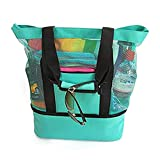 Bolsa de piquenique com compartimento de geladeira de malha, zíper grande, fechado, praia, brinquedo, compras, acampamento, sacola, sair