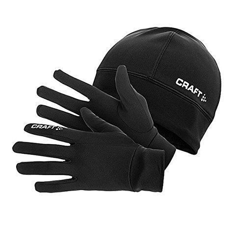 CRAFT CR1902959 Pack con Gorro, L/XL y Guantes de Running para Hombre 9999, Negro, M