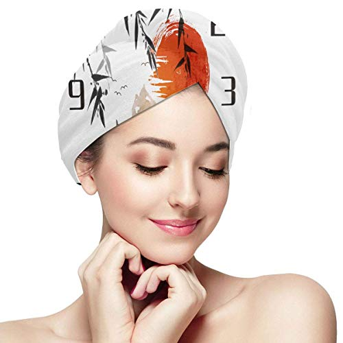 QHMY Bamboo Trees Red Sun Mountains Serviette Traditionnelle Wraps pour Cheveux secs Hair Dry Hat Cap Soft Absorbent Rapidly Dry Hair Turban Wrap Hair Towel Towel Wraps for Hair Drying Towel for Hair
