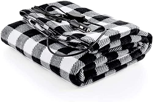 Ovente Electric Heated Cotton Throw Blanket with Car AC Outlet, 57 x 39 Inch Full Body Size with Temperature Control and Safe Over-Heat Protection Machine Washable for Travel, Black and White BL4602BW