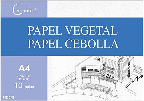 Cervantes - Pack de papel vegetal calco A3-A4 (A4, 10 HOJAS)