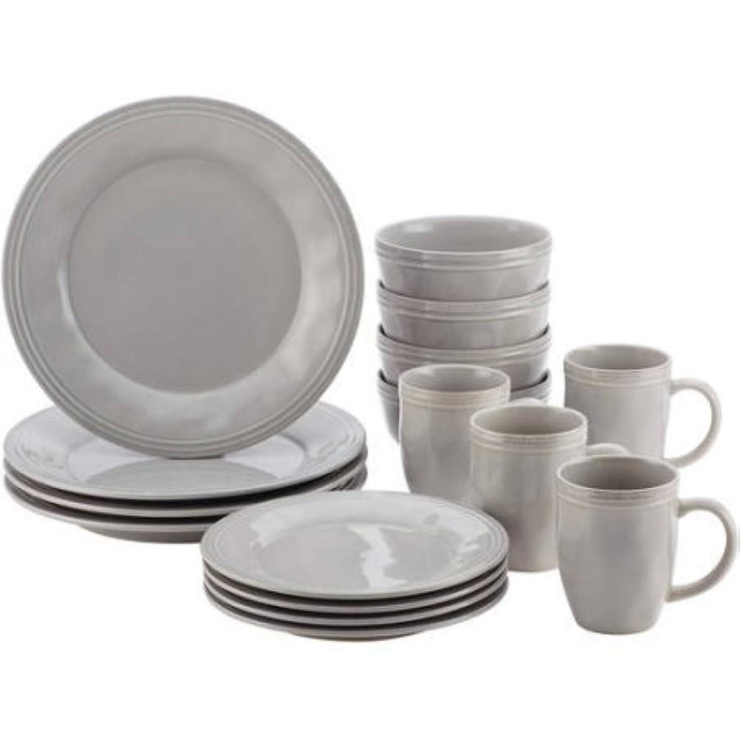ボルトカテゴリー信頼性Rachael Ray Cucina食器類16?Stonewareディナー食器セット グレー