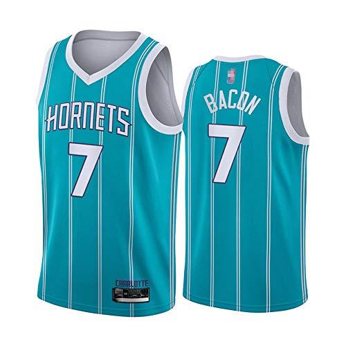 HS-XP 2021 Baloncesto De Los Hombres NBA Charlotte Hornets # 7 Dwayne Bacon Jersey, Fitness Humedad Malsh Malla Sin Mangas Flojo, V Cuello Vestido Deportivo Camisa,Azul,XL(180~185cm)