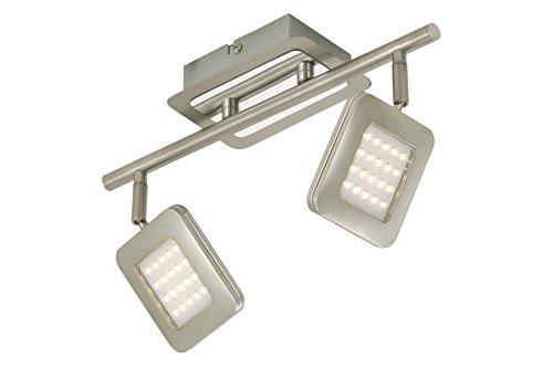 Briloner Deckenleuchte, Deckenstrahler, Spot, LED Platine, 2 x LED 4,5 Watt, 450 Lumen, Strahler dreh- und schwenkbar, matt-nickel 2874-022
