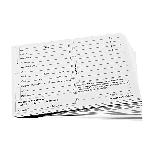 Dog Grooming Cards (100 Pack 8 X 5 inch) Groomer Client Profile Service Record Clip Card for Professional Pet and Cat Groomers, Kennel Care