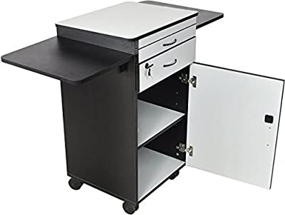 Luxor WPSDD3 Wood Multimedia Workstation Cart, 38 inches High; Durable Black/Gray Laminate Finish