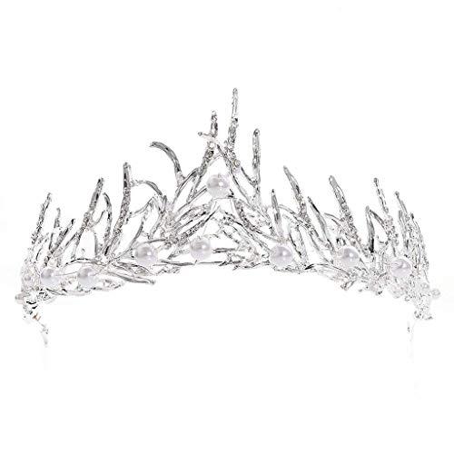 YWSZJ Tiara cristalina Diamantes de imitación Tiara con el Peine Princesa del Desfile Corona (Plata)