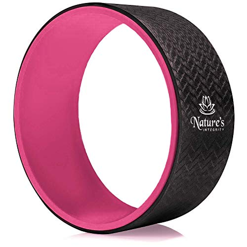 Nature's Integrity Yoga Wheel 13' - [Elite Series] - Strongest and Most Comfortable Dharma Yoga Roller for Stretching, Back Pain, and Backbends - Thick Padding, Eco-Friendly, Exercise Guide Included