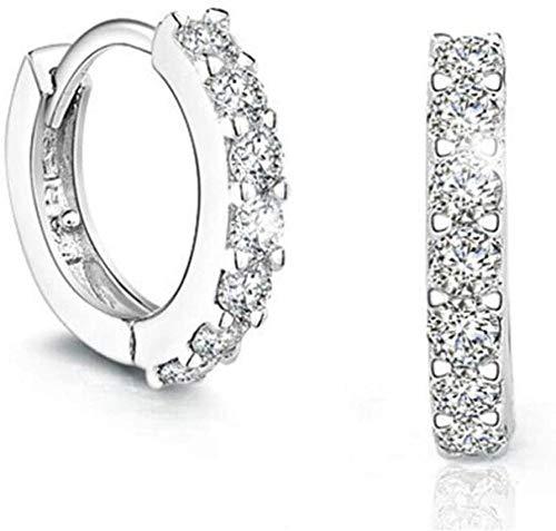 N / A Ohrring-Silber-Ohrringe Sekt einreihig Zirkon Ohrringe,Weiß