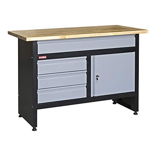 STIER Werkbank Basic, 4 Schubladen, Belastbarkeit 300 kg, BxTxH 1200x600x840 mm, mit Pulverbeschichtung
