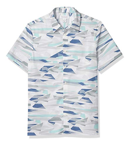 Calvin Klein Camisa de algodón elástico de Manga Corta con Botones para Hombre, Impresión de Niebla del Puerto, Large