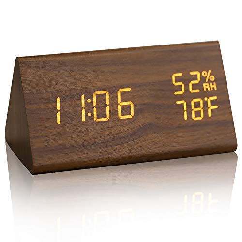 JCHORNOR Wood Digital Alarm Clock, Led Time Display Wooden Digital Desk Clock with 6 Levels Brightness, Temperature Humidity Detect Triangle Electric Bedside Clock for Bedroom/Office/Kid Room-Brown2