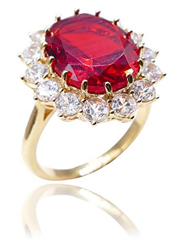 Ah! Jewellery Women's Eye Catching 18kt Genuine Gold Filled Ring With A Ruby Red Diamond Centre. Stamped GL, UK Guarantee: 3µ (M)