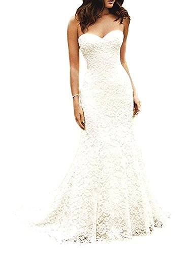 YASIOU Damen Brautkleider Meerjungfrau Weiß Spitze Elfenbein Lang mit Schleppe Hochzeitskleid