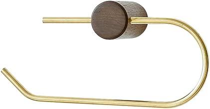 ZMIN Toiletrolhouder, geen boren vereist, massief hout, goud, creatief