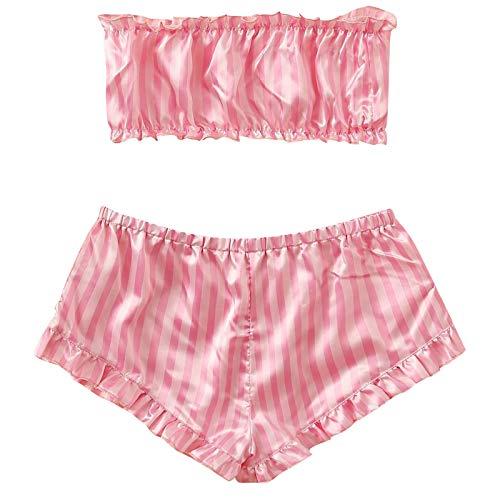 Mujer Conjuntos de Seda Pijamas Sexy Rosa Rayas mprimir Sin Mangas Lencerí Pijama Tentación Babydoll Camisón Erótica Mini Lingerie Babydoll