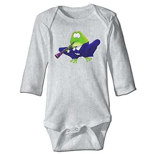 Body de manga larga para beb, unisex, para clarinete, rana, para nios, de manga larga, traje de sol, color ceniza