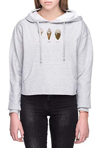 Ijsje Kegels Dames Crop Capuchon Sweatshirt Grijs Women's Crop Hoodie Sweatshirt Grey