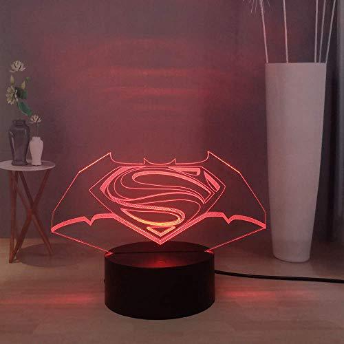 Cool LED Superman Logo Batman Symbol Night Light, Creative 3D Desk Lamp Colorful Table Lamp, USB Remote Control Bedside Lamp Bedroom Sleeping Light, Kids Toy Children's Birthday Gift Christmas Gift