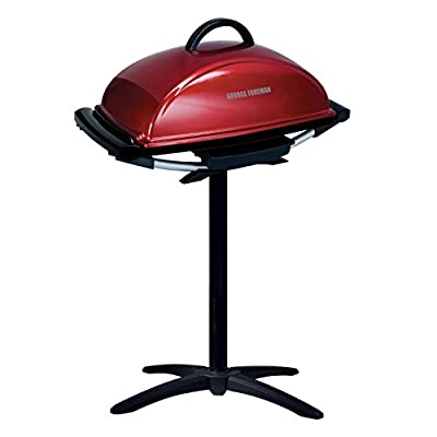 George Foreman 12-Serving Indoor/Outdoor Rectangular Electric Grill, Red, GFO201R