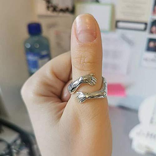 Frauen Männer Ringe Vintage 925 Sterling Silber verstellbarer Umarmungsring Silberner romantischer Ring für Damen und Herren, Valentinstag Liebesschmuck, Hochzeitsgeschenk