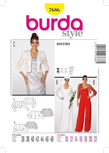 Burda b7686Schnittmuster Bolero 19x 13cm