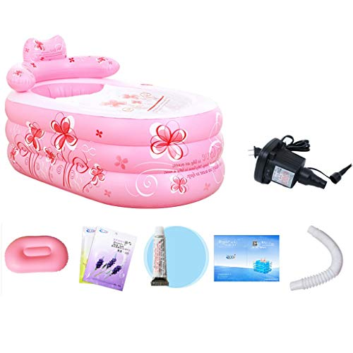 WJP Rosa Druck aufblasbarer Whirlpool, tragbare Faltbare aufblasbare Badewanne, extra große Kunststoffwanne - 160 × 90 × 75 cm (Farbe : Rosa, Größe : 160×90×75cm)