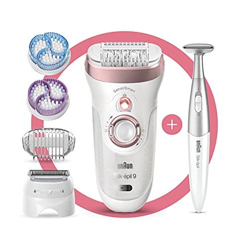 Braun Silk-épil 9-980 SkinSpa SensoSmart - Depilador con modelador de bikini, cabezal de afeitado y recortador, cepillos exfoliantes, capucha de masaje [empaque puede variar]