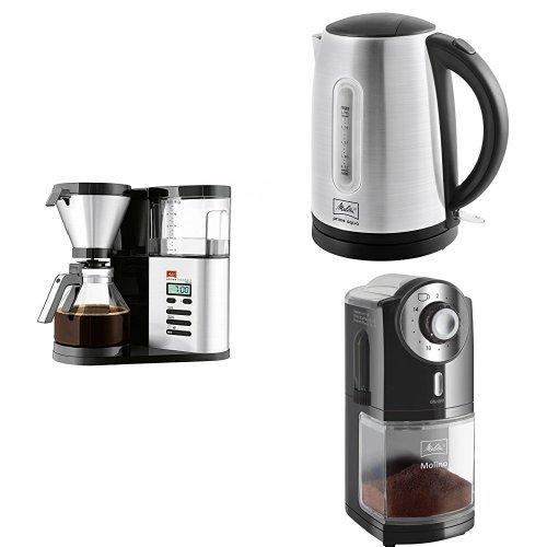Melitta Aroma Elegance Deluxe 1012-03Filterkaffeemaschine + Melitta Wasserkocher + Melitta 1019-02 Kaffeemühle