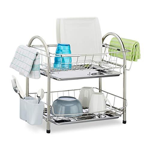 Relaxdays 10020389 Egouttoir à vaisselle 2 étages porte couvert inox grille assiette HxlxP: 39,5 x 60 x 22 cm, argenté