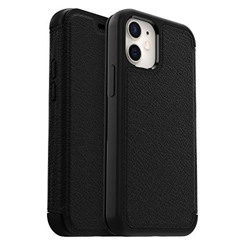 OtterBox für Apple iPhone 12 mini, Premium Folio-Schutzhülle aus Leder, Strada Serie, Schwarz - Keine Einzelhandelsverpackung