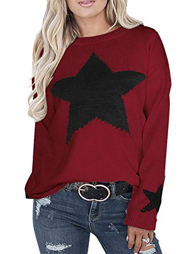 shermie Crew Neck Sweaters for Women Long Sleeve Star Graphic Cable Knit Pullover Sweaters Star 1 Wine-Red Small