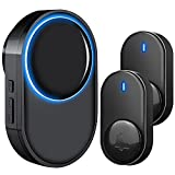Wireless Doorbell, Satisure Waterproof Door Bell Chime Kit Operating at 1300 Feet 58 Melodies, 5 Volume Levels & LED Flash for Home Store Office Classroom (1 Receiver + 2 Transmitters)