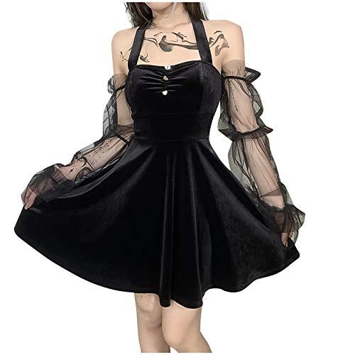 Zilosconcy Kleider Damen Gothic Kleid Retro Cosplay Gothic Hexe Cosplay Kostüm Schwarzes sexy Neckholder ärmellosFestlich Übergroßes Gothic Halloween-Kleid Plissee Miniröcke Minirock A-Linien Kleid