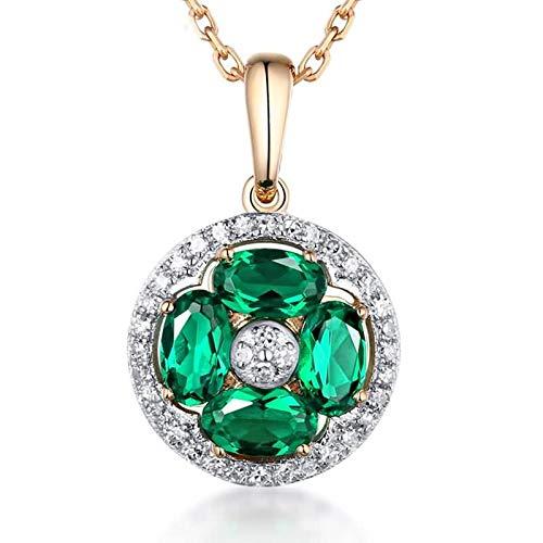 Daesar Collana Donna Oro Bianco 18K Vero 0.66ct Smeraldo Fiore Verde Trifoglio Ovale Collane Diamanti Donna Collana Ciondolocollana Argento Bambina