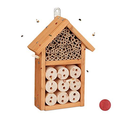 Relaxdays Insektenhotel Bausatz, Insektenhaus für Käfer, Bienen & Florfliegen, zum Selberbauen, 26 x 16 x 6 cm, gelb