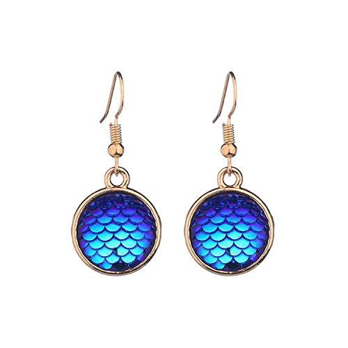 Pendientes de sirena de resina de venta caliente de joyería colgante de gema de tiempo de escala de pescado