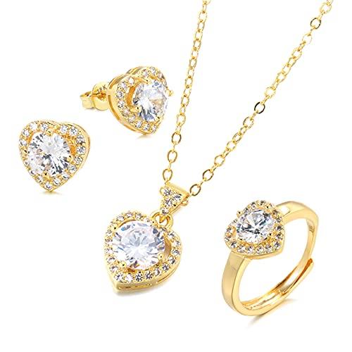 YUANBOO Natural Zircon 18k Oro Bridal Boda Joyas Conjuntos Anillo Corazón Collar Pendiente Fine Mujer Joyería Día de San Valentín Regalo (Gem Color : White, Ring Size : Resizable)