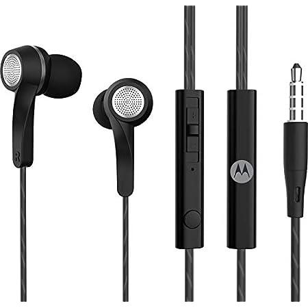 Motorola Pace 120 in-Ear Headphones with Mic, Volume Control & Alexa Built-in(Black)