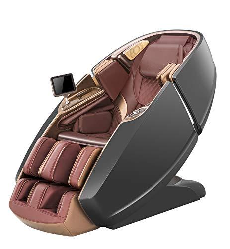 YUYTIN Nuova Poltrona da Massaggio del Corpo del meccanismo di Massaggio 3D con Funzione di Stretching, Vitello Mobile Copre Fino alle Ginocchia, Immersione Musicale Tramite Bluetooth,C