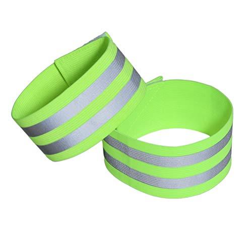 VORCOOL 4 Stück Reflektierende Gummiband hohe Sichtbarkeit und Sicherheit Armband Armband Sport Zubehör für Jogging Radfahren zu Fuß (grün)