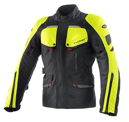 Clover Scout Motorradjacke, Schwarz/Neongelb, XL