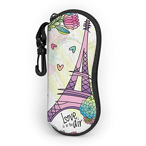 Funda suave con clip de cinturón floral con torre Eiffel portátil ultra ligero de neopreno con cremallera para gafas de seguridad para hombre y mujer