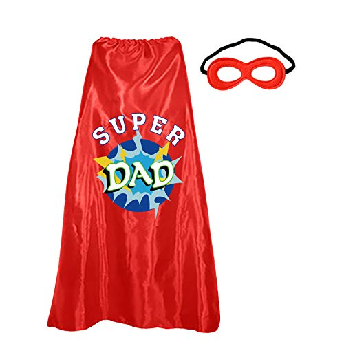 D.Q.Z Red Superhero Cape and Mask for Adults Christmas Dress Up Costume with Initial Letter (Cape Dad)