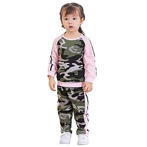puseky Bebé niña camuflaje manga larga camisa+pantalones chándal traje deportivo, camouflage, 4-5 años