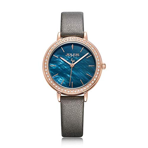 Julius Shell Diamante Damas Moda Cara Reloj de Cuarzo Sra Impermeables (Color : D)