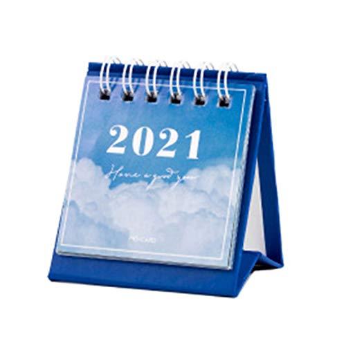 Haorw Calendario de Escritorio, 2021 Serie Star Mini Calendario de Papel de Escritorio con Paisaje Plan de Dos días Planificador de Escritorio Organizador Anual Gestión del Tiempo