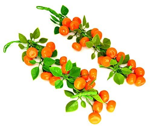 2 paquetes Cadena naranja Artificial Planta de plástico artificial Flores para la decoración del hogar Plantas de plastico Flor MANDARINA NECTARINA Cuerda de naranjas